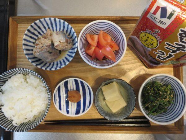 サバの水煮缶メインの献立(180125朝ごはん)