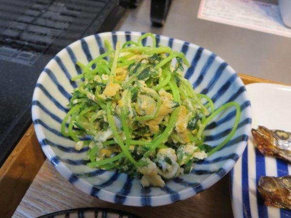 豆苗とたまごの炒め物