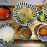 白菜とツナ缶の蒸し煮メインの献立(2018年3月20日の朝ごはん)