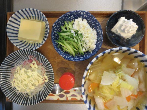 お雑煮メインの献立(180411昼ごはん)
