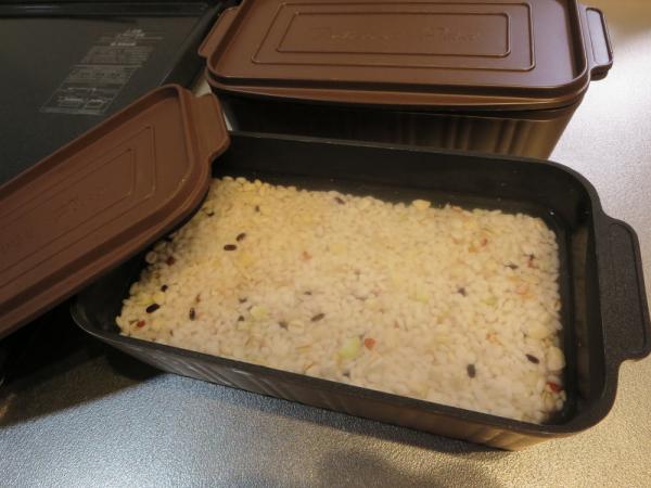 トースターパンで雑穀米を炊く