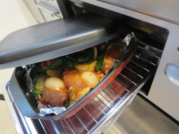 鶏もも肉の照り焼き、魚焼きグリルで焼く