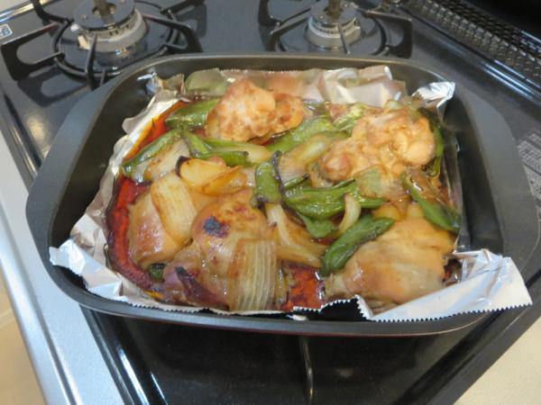 鶏もも肉の照り焼き、魚焼きグリルで焼いた