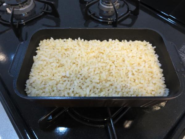 発芽米(ファンケル)をトースターパンで炊く