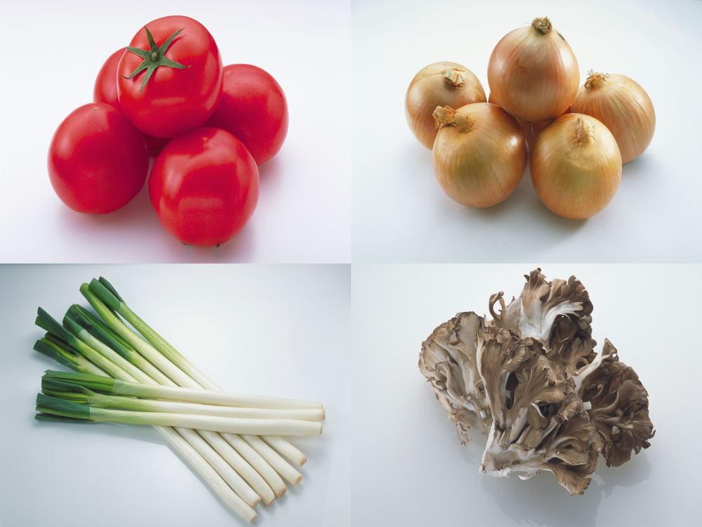 トマト、玉ねぎ、長ネギ、まいたけ