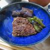 ひき肉のグリル焼き、ナスとピーマン添え
