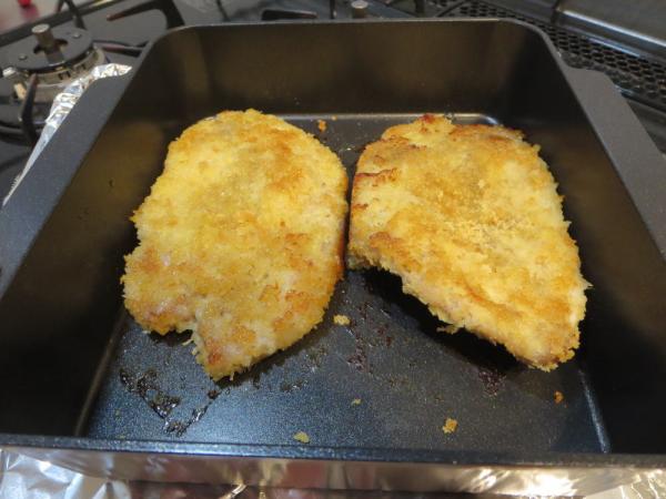 トースターパンで焼きカツの出来上がり
