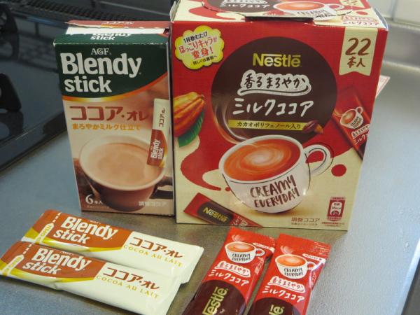 ミルクココア(Nestle)とココアオレ(AGF)