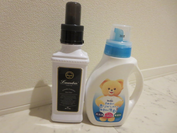 洗濯洗剤(ファーファ無香料)と柔軟剤(ランドリン)