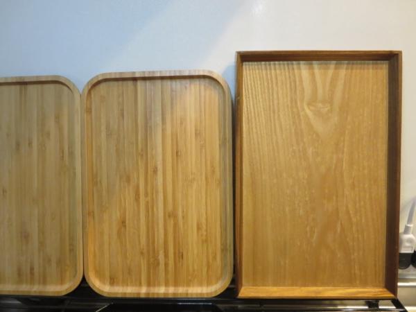 バンブートレーと木製トレー