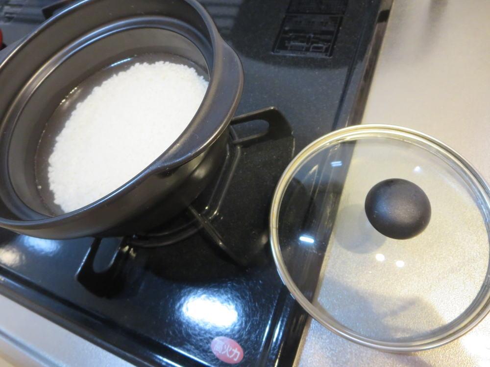 ミニ土鍋+ガラス蓋でごはんを炊く