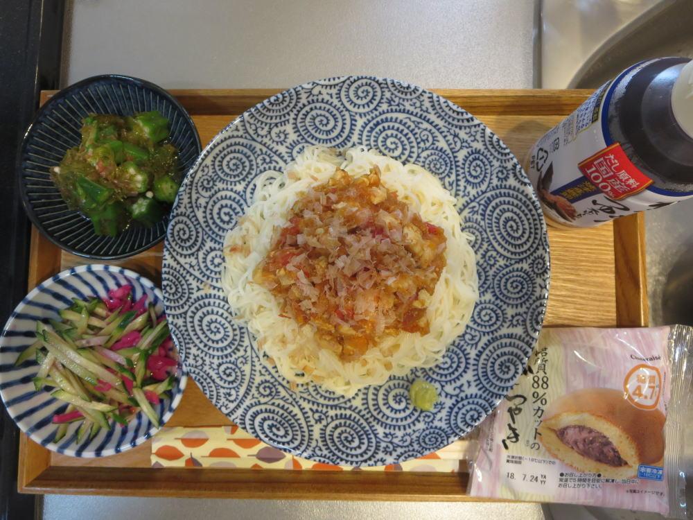 雷豆腐ぶっかけそうめん(TBSおびゴハン!レシピ)メインの献立