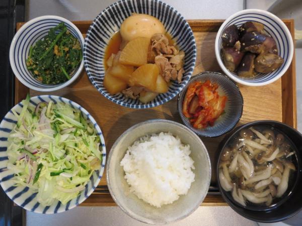 大根と豚肉の煮物(煮卵付き)メインの献立