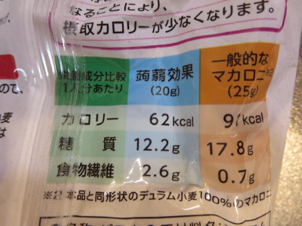 蒟蒻効果マカロニタイプの栄養成分
