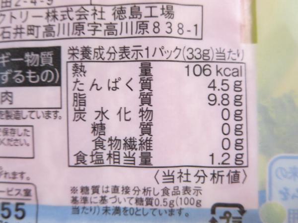 糖質ゼロハーフベーコンの栄養成分