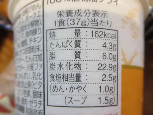 ミニラーメン栄養成分表示
