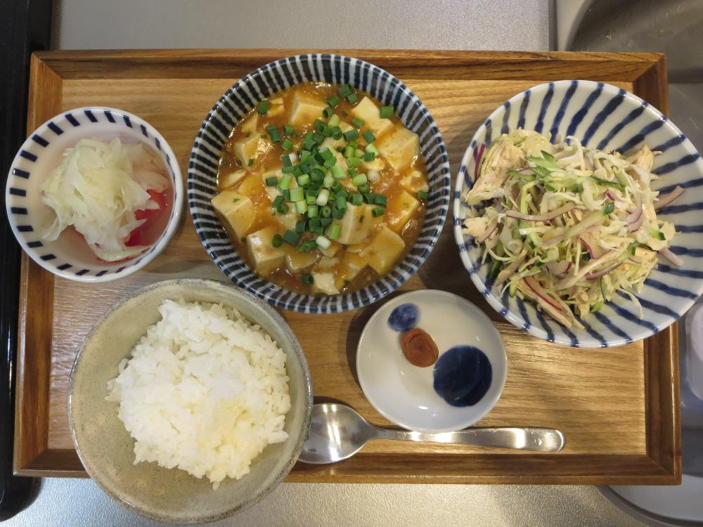 麻婆豆腐メインの献立