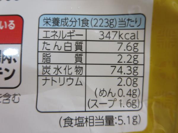 カレーうどん(冷凍食品)栄養成分