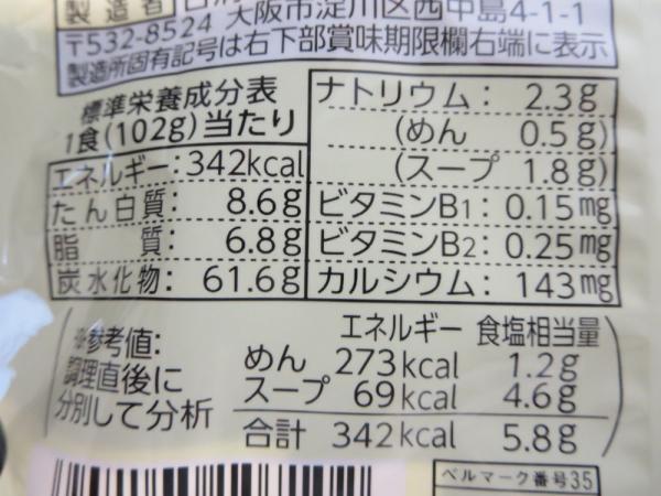 ラ王(醤油味)栄養成分表示