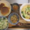 野菜のグラタン(大豆粉)とパンケーキメインの献立