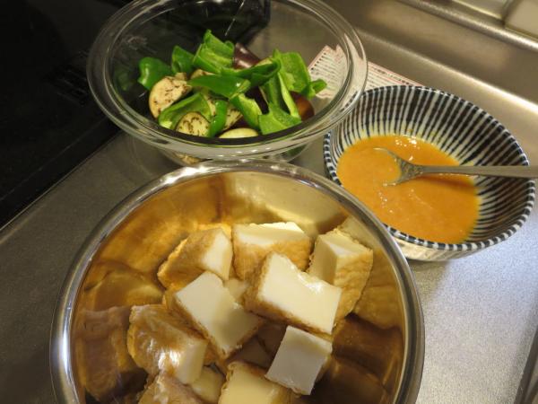 厚揚げとなすの甘味噌炒めの材料、調味料