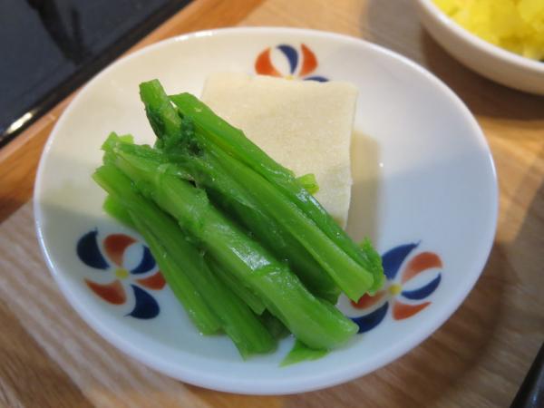 高野豆腐の含め煮、あぶら菜添え