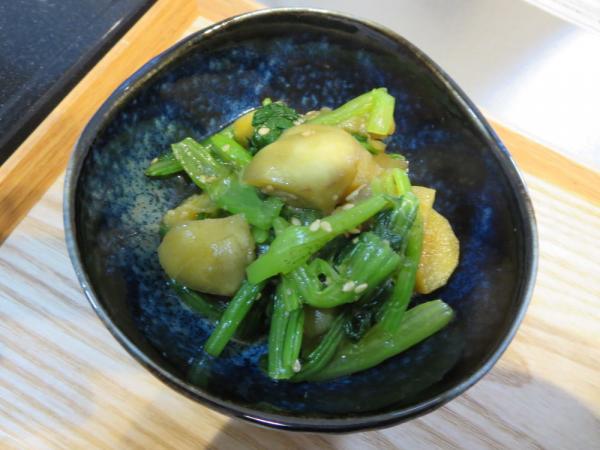 ナスと小松菜の甘酢醤油和え
