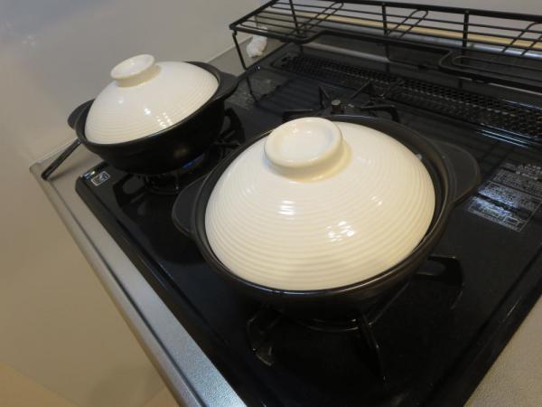 土鍋の蓋をして煮る!