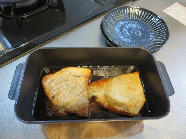 トースターパンでメカジキのバター照り焼き