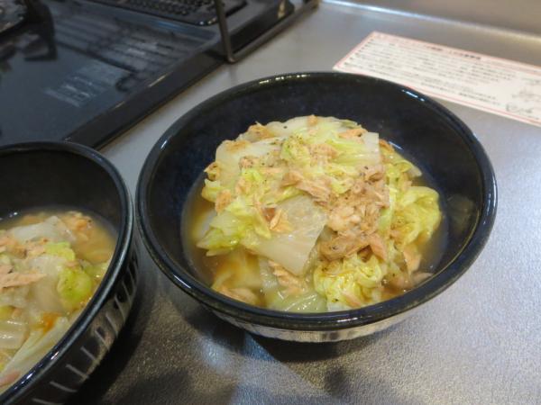 白菜とツナ缶の電子レンジ蒸し