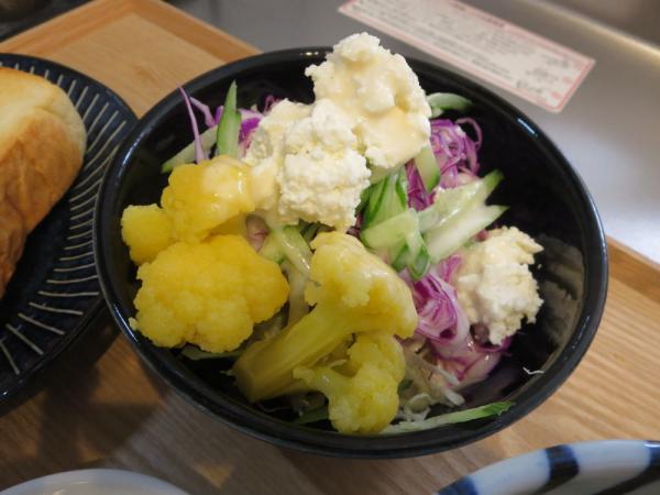 野菜サラダ、手作りカッテージチーズのせ