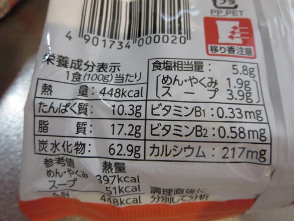 サッポロ一番みそラーメンの栄養成分表示