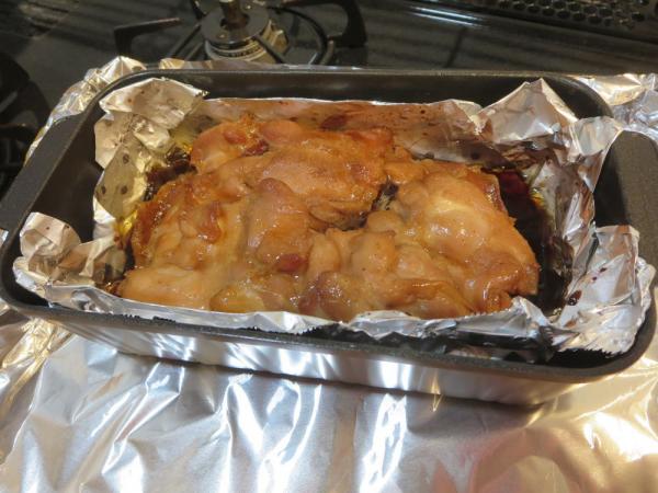 トースターパンで鶏もも肉の照り焼き