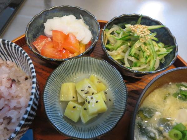 小鉢3種(トマトの酢玉ねぎのせ、きゅうりともやしの和え物、さつまいもの甘煮)