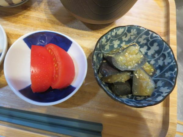 トマト、ナスの甘辛炒め