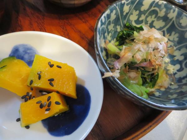 かぼちゃ、小松菜のお浸し