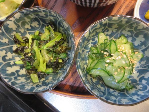 小松菜の海苔和え、塩もみきゅうり