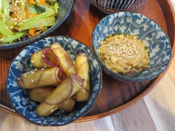 クルクル大学芋風、えのき煮