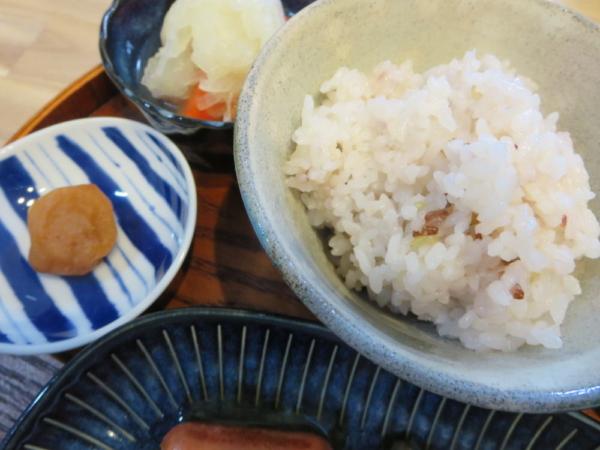 ごはん(古代米3種入り)、梅干