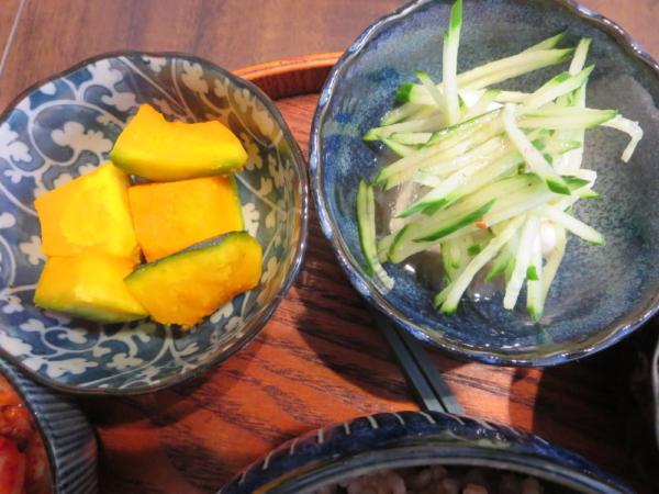 かぼちゃ、豆腐の梅きゅうり
